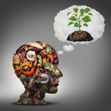 Compost Plan. And composting planning as a pile of rotting fruits egg shells and vegetable food scraps shaped as a human head dreaming of soil with a sapling Stock Photography