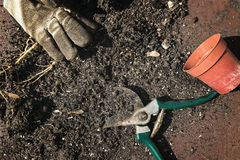 Compost with secateurs Royalty Free Stock Photography