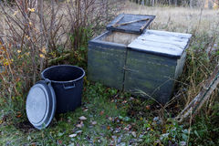 Compost station. For gardening waste a cold morning in the autumn Stock Photo
