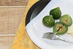 Composta dei fichi verdi Dessert delizioso, servito con formaggio immagine stock