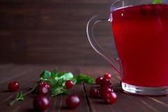 Composta del mirtillo rosso in un vetro trasparente Immagine Stock Libera da Diritti