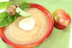 Composta di mele con la salsa della vaniglia Fotografie Stock Libere da Diritti