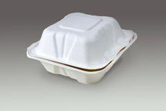 Compostable take out box (with clipping path). An isolated compostable take out box with clipping path Stock Photos