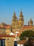 compostela katedralny widok De Obradoiro Santiago Zdjęcia Royalty Free