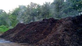 Composthoop met stoom stock footage