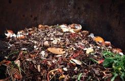 composting av h?gen av gr?nsakfrukter Organisk avfalls f?r begrepp, ren milj? arkivfoto