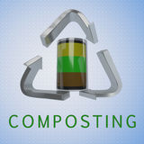 Composting - recycling concept. 3D illustration of COMPOSTING title with a compost container in a recycling symbol as a background Stock Photo