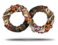 Composting Recycle Symbol. Composting symbol and compost cycle icon system concept as a pile of rotting  fruits egg shells bones and vegetable food scraps shaped Royalty Free Stock Photography