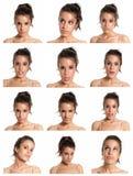 Composto das expressões da face da mulher nova isolado fotos de stock royalty free