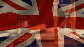Composto de Digital da bandeira e do martelo de Reino Unido do grunge filme
