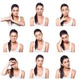 Composto de emoções e de gestos negativos com menina Fotos de Stock Royalty Free