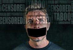 Composto di pubblicità di libertà con le parole come censurato e tabù composto nel fronte di giovane uomo triste con nastro adesi immagini stock