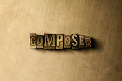 COMPOSTO - o close-up do vintage sujo typeset a palavra no contexto do metal Fotografia de Stock