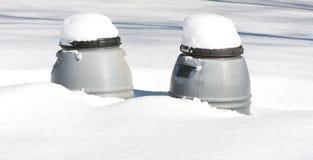 Compostors in de Sneeuw Royalty-vrije Stock Foto
