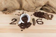 Composyion de la celebración del café por 2016 Años Nuevos Imagenes de archivo