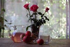 Compota de manzanas en un jarro transparente Fotos de archivo libres de regalías