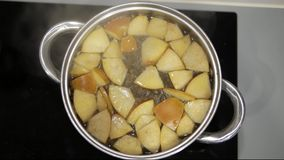 Compote της Apple είναι μαγειρευμένο σε μια κατσαρόλλα φιλμ μικρού μήκους