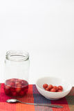 Compote of cherries in a jar with compote in a bowl on the kitch Stock Image