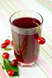 Compote cherry in glassful on tablecloth Royalty Free Stock Photos