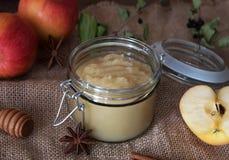 Compote de pommes faite maison fraîche avec des pommes Image libre de droits