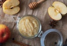Compote de pommes faite maison fraîche avec des pommes Images stock