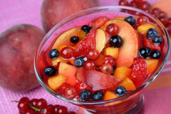 Compote with fruit. On plate Stock Images