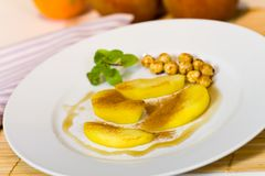 Compote of Pears , with caramelized hazelnuts Royalty Free Stock Photography
