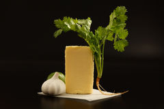 Compound butter ingredients herb coriander garlic lemon fresh homemade Royalty Free Stock Photos