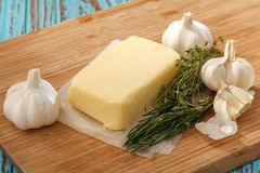 Compound butter ingredients herb thyme rosemary garlic fresh Royalty Free Stock Photography