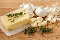 Compound butter ingredients herb thyme rosemary garlic fresh Royalty Free Stock Image