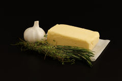 Compound butter ingredients herb thyme rosemary garlic fresh homemade. Italian food tasty Stock Images