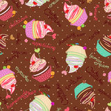 Compound chocolate background from delicious cakes. Composite background of the delicious cakes and cupcakes. Seamle stock illustration