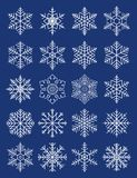 Compound geometric snowflakes. A sheet of snowflakes built on the basis of the original ones Stock Images