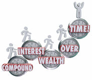 Compound Interest Wealth Over Time Clock Words People Saving Mon Royalty Free Stock Image