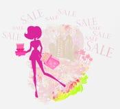 Compra abstrata da menina da forma ilustração royalty free