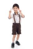 A compra asiática bonito uma da exibição da criança obtém um sinal da carta branca Imagens de Stock