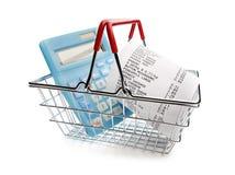Compra até o recibo, a calculadora e o cesto de compras imagens de stock royalty free