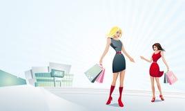 Compra bonita das mulheres. ilustração stock