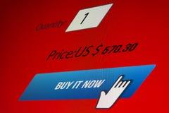 Compra-compra en línea él ahora ordenador de la pantalla del pho Imagenes de archivo