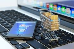 Compra, compras do Internet e conceito em linha do comércio eletrônico Fotografia de Stock Royalty Free