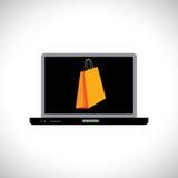 Compra/compras en línea usando un ordenador (computadora portátil) Fotografía de archivo libre de regalías