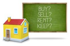 A compra contra o aluguel contra a venda contra mantém-se no quadro-negro com 3d Imagem de Stock Royalty Free