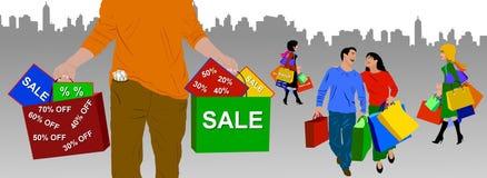 Compra da cidade Imagem de Stock Royalty Free