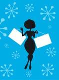 Compra da mulher dos desenhos animados da silhueta Imagem de Stock