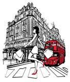 Compra da mulher em Londres Fotografia de Stock