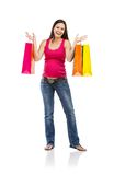 Compra da mulher gravida isolada no branco Foto de Stock