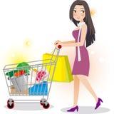 Compra da mulher no supermercado ilustração do vetor