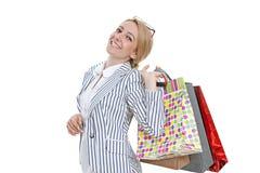 Compra da mulher nova com sacos fotografia de stock