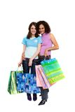 Compra da mulher nova, isolada no branco Imagem de Stock