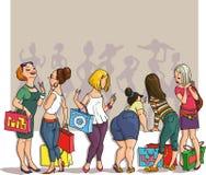 Compra das meninas do desenho ilustração stock